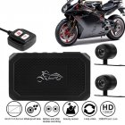 Motorcycle View Dash Cam Motorcycle Camera HD 1080P+720P Front+Rear View DashCam DVR Driving Recorder  black