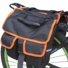 Mountain Bicycle Carrier Bag Rear Rack Trunk Bike Luggage Back Seat Pannier Cycling Saddle Storage Bags Black + orange edging_12 x 4 x 11inches