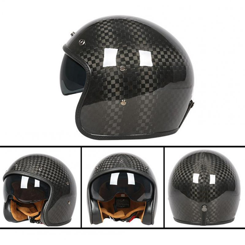 Retro Helmet Carbon Fibre Half Helmet Half Covered Riding Helmet Bright 12K carbon fiber L