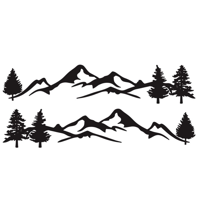 Mountain Tree Forest Graphic Vinyl Art Sticker for RV Decoration Forest Silhouette Decals Camper Vehicle Window Door Decoration black