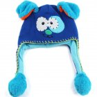 Moving Ears Hat Infant Bomber Hat Sweet Cute Knitted Cartoon Wool Hat Blue puppy puppy_OPP packaging