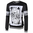 MrWonder Men s Casual 3D Poker Print Crewneck Long Sleeve Pullover Sweatshirt Black L