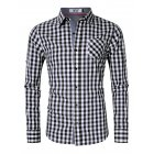 MrWonder Men s Slim Fit 100  Cotton Button Down Long Sleeve Plaid Shirt Black and white grid XL