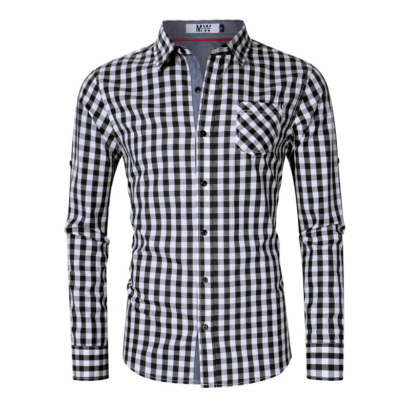 MrWonder Men's Slim Fit 100% Cotton Button Down Long Sleeve Plaid Shirt Black and white grid_XL