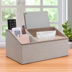 Multi Functional Leather Tissue Box Napkin Holder Tabletop Remote Controller Phone Organize light gray linen