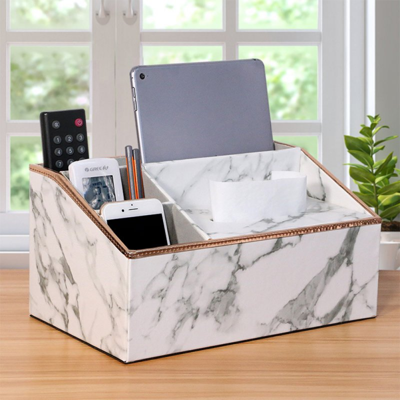 Multi Functional Leather Tissue Box Napkin Holder Tabletop Remote Controller Phone Organize white marble