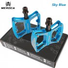 MEROCA Mountain Bike Pedal witn 3 Bearings Aluminum Alloy Bearing Ultra-light Pedal Sky blue