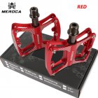MEROCA Mountain Bike Pedal witn 3 Bearings Aluminum Alloy Bearing Ultra-light Pedal red