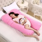 Multi-functional Pillow for Pregnant Women Side Pillow Cotton U-shaped Nap Pillow Cushion Wave pink_70*130