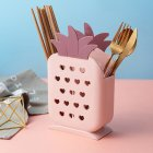 Multifunction Chopstick Cage Drain Rack Cartoon Pineapple Shape Storage Box for Cutlery Pink