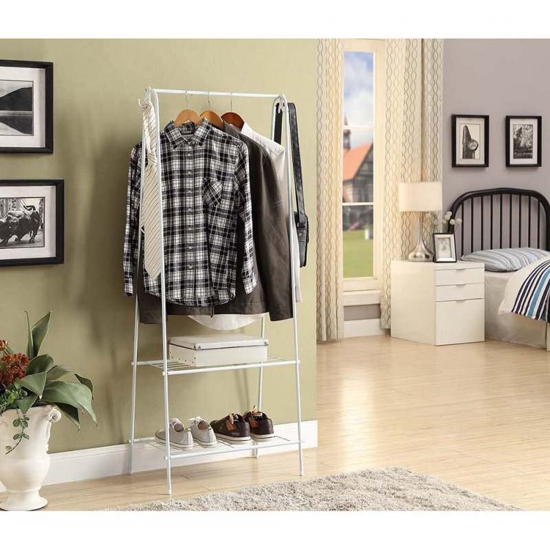 Multifunction Display Stand Metal Coat Hanger Drying Rack for Home Clothing Hat Storage white