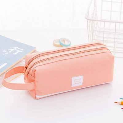 Multifunction Large Capacity Double Layer Zipper Pencil Case for School Stationery Pink