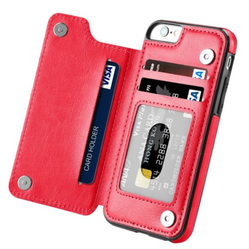 Magnetic Leather Wallet Case Card Slot