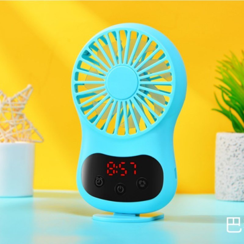 Multifunction Mini USB Fan Clock Travel Cooling Fan with Hanging Rope for Office Outdoor Home blue_130*70*20mm