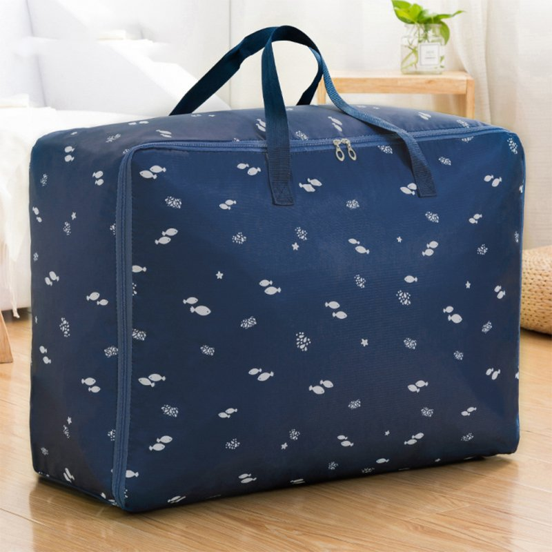 Multifunction Oxford Cloth Storage Bag with Handles for Cabinet Luggage Clothes Organize dark blue fish_XL 60*50*25cm