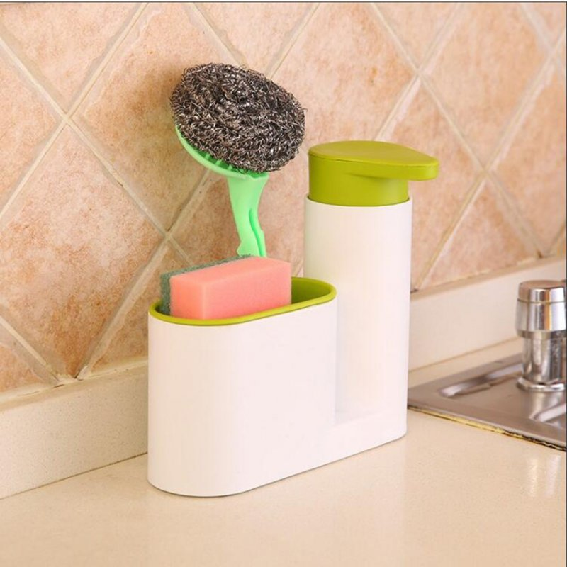 Multifunction Soap Liquid Dispenser Sponge Drain Stoarge Rack for Kitchen Bathroom green