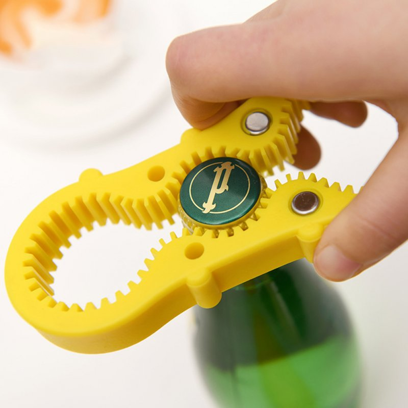 Multifunctional Bottle Opener with Magnet Multi-purpose Antiskid Opener yellow