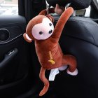 Multifunctional Car Tissue Box Cute Cartoon Paper Napkin Box Monkey Hanging Ornament Brown