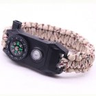 Multifunctional Outdoor Knitting Bracelet with LED Light Compass Flintstone Whistle Parachute Cord