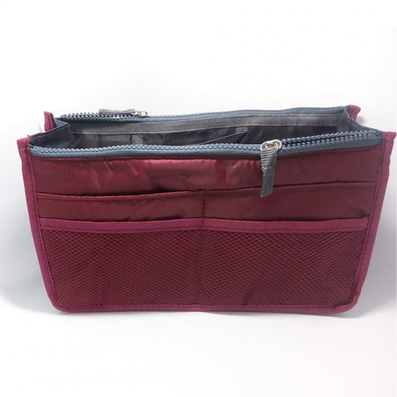 Multifunctional Small Handbag Travel Case Toiletry Bag Cosmetic Organizer Storage Bag Pouch Pocket wine red