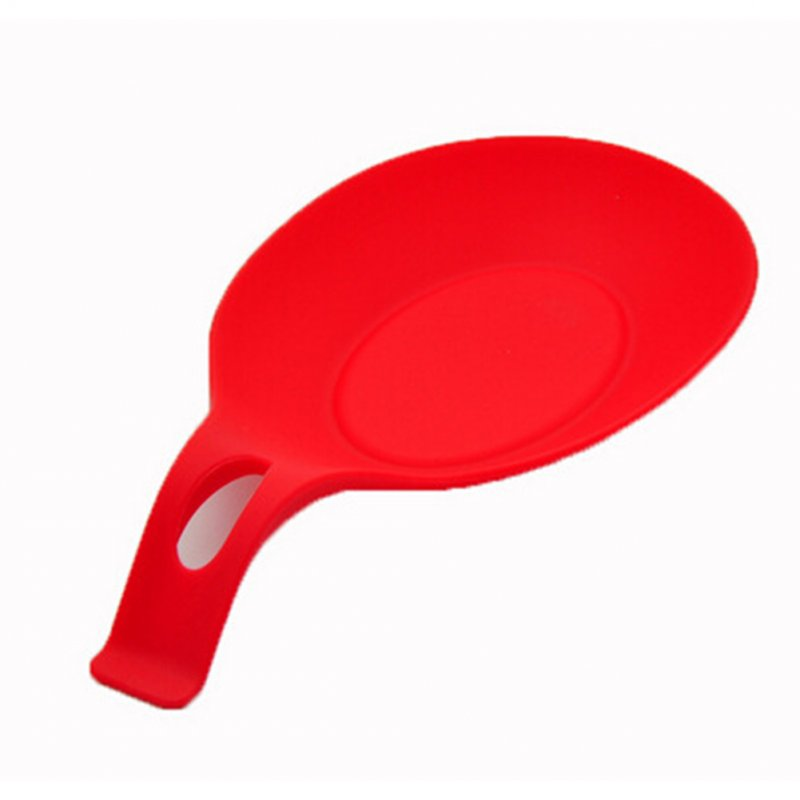 Multipurpose Silicone Spoon Rest Pad Mat for Kitchen Utensils red
