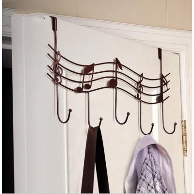 Music Note Style Metal Coat Hanger Black