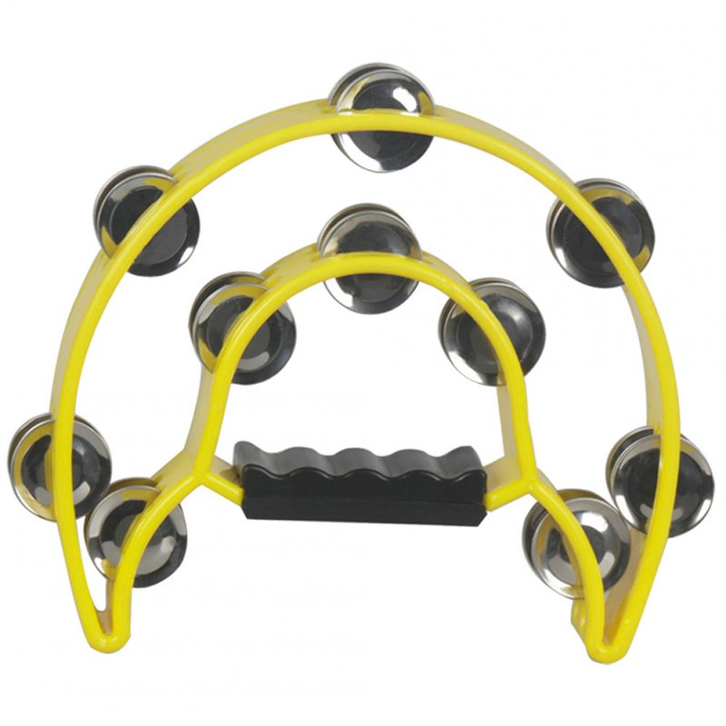 Musical Tambourine Handbell with Double Row Metal Jingles Percussion Drum Party Gift Percussion Instruments yellow