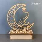 Muslim Eid LED Wood Lamp Festival Moon LED Decoration Star Prayer Shape  Moon Ramadan