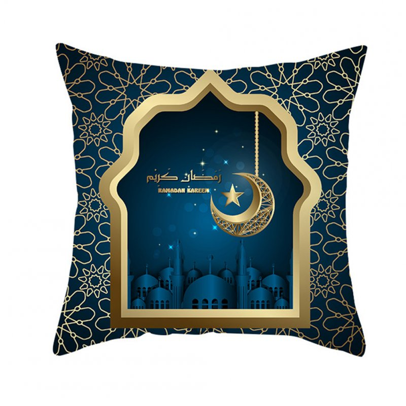 Muslim Ramadan Pillowcase Digital Printing Peach Skin Cushion Cover Home Festival Decoration TPR261-5_45 * 45cm (without pillow)
