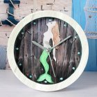 Mute Quartz Alarm Clock, Retro Mermaid Round Wooden Clock, Small Silent Desk Time Clocks Home Office Decoration