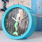 Retro Mermaid Round Wooden Clock Blue