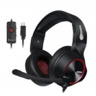 N11U PC Gamer Gaming Headset Casque 7.1 Channel Sound Wired USB Earphone Headphones with Mic Volume Control LED for Computer Black + red