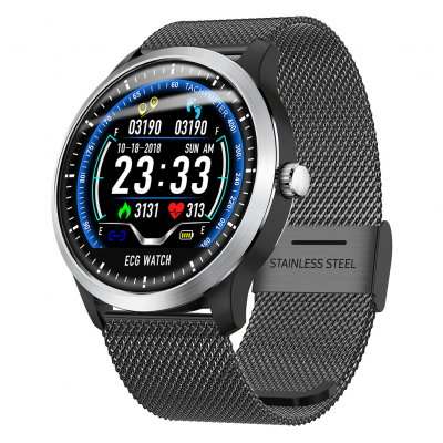 N58 Smart Watch Sports Bracelet - Black Steel