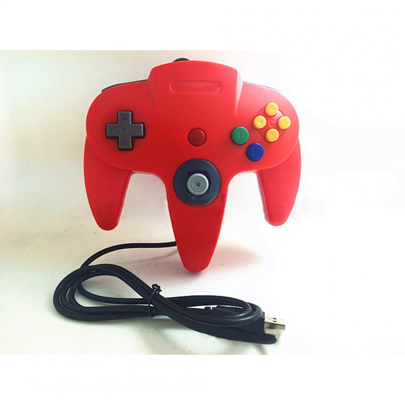 N64 USB N64 ABS Gamepad Controller Joystick PC Computer Game Handle red