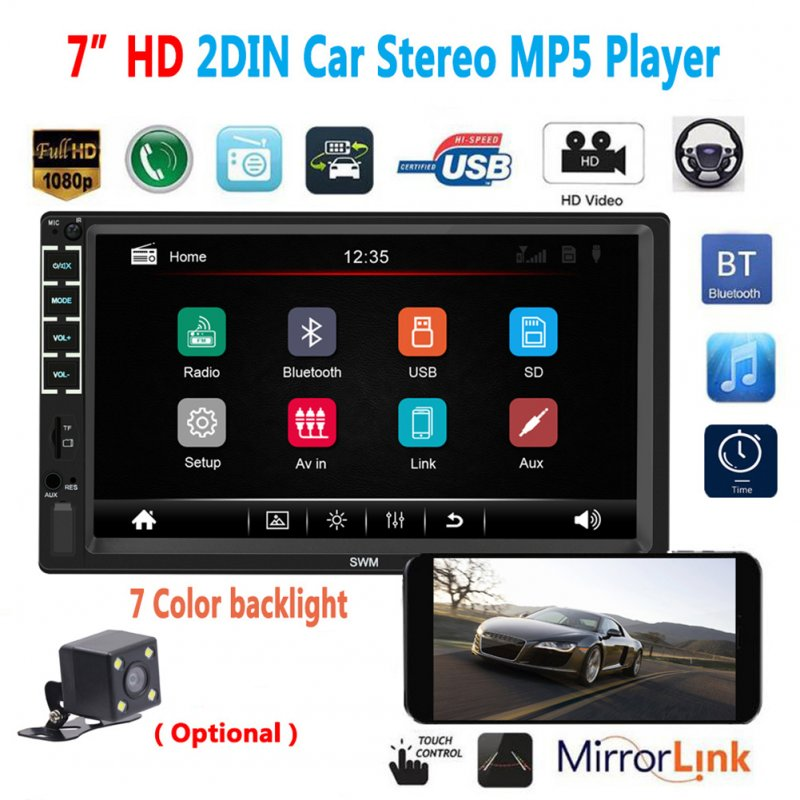 N7  2DIN 7 inches HD Car Bluetooth MP5 Player USB Flash Disk Radio Video Display With camera