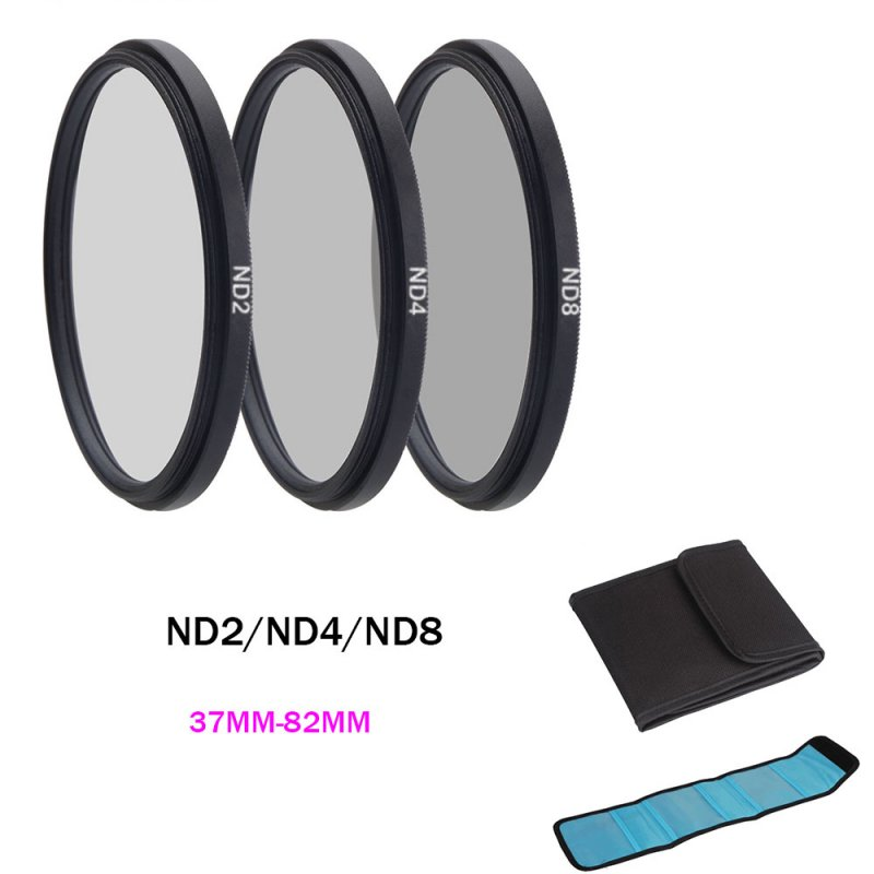 ND Filter Neutral Density ND2 ND4 ND8 Filtors 37 52 58 62 67 72 77 82mm Photography for Canon Nikon Sony Camera 43MM