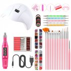 Nail Art UV Gel Lamp Manicure Set USB Grinding Machine Nail Kit Tools For Manicure Set For Nail Art Pusher Kit 01W white