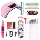 Nail Art UV Gel Lamp Manicure Set Nail Kit Tools For Manicure Set For Gel Varnish For Nail Art Pusher Kit 01P pink