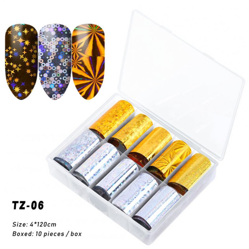 Nail Star Sticker Set DIY Nail Sticker Nail Starry Sky Art Decoration Stickers Star Paper TZ06_Pack of 10 4cm * 120cm