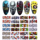 Nail Wrap Halloween Stickers Nail Art Decorations Skull Transfer Decals Accessories Tip Manicure Tool  A1093-A1104 (12 large pieces of bare)