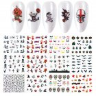 Nail Wrap Halloween Stickers Nail Art Decorations Skull Transfer Decals Accessories Tip Manicure Tool  A1117-A1128 (12 large pieces of bare)