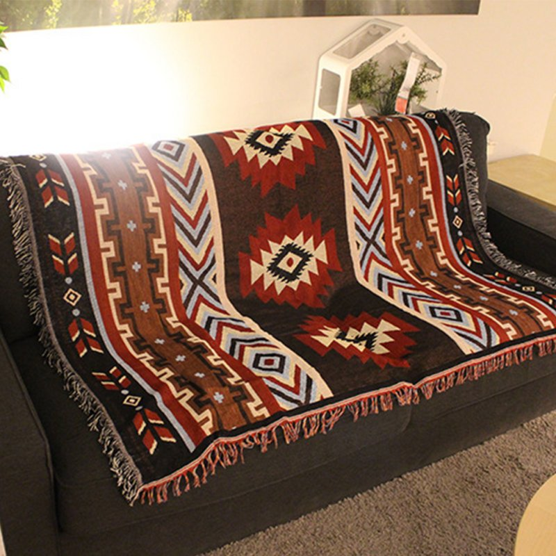 National Style Geometry Throw Blanket Slipcover Cobertor for Plane Travel Bed Supplies Black red kilim_Small 125X150cm