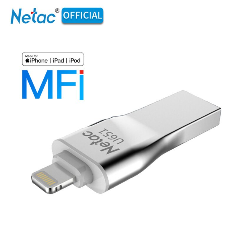 Netac U651 USB 3.0 OTG Flash Drive Sliver Aluninum Alloy USB3.0 Flash Disk