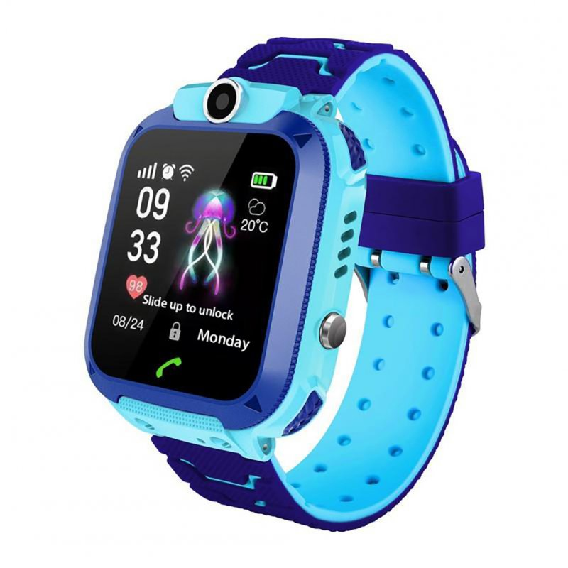 New Children Waterproof Phone Watch Smart Phone Positioning Watch Waterproof Student Watch Blue