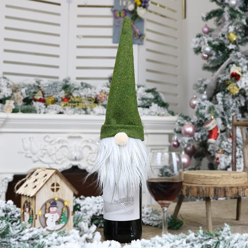 New Christmas Decorations Faceless Old Man Doll Wine Bottle Set Christmas Champagne Decoration Wine Bag Gift Bag green