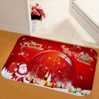 New Christmas Snowman Printed Soft Flannel Floor Mat Bathroom Anti Slip Mat Rug red_50*80cm