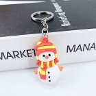 New Creative PVC Silicone Christmas Key Ring Keychain Small Gift Bag Car Key Pendant Snowman A