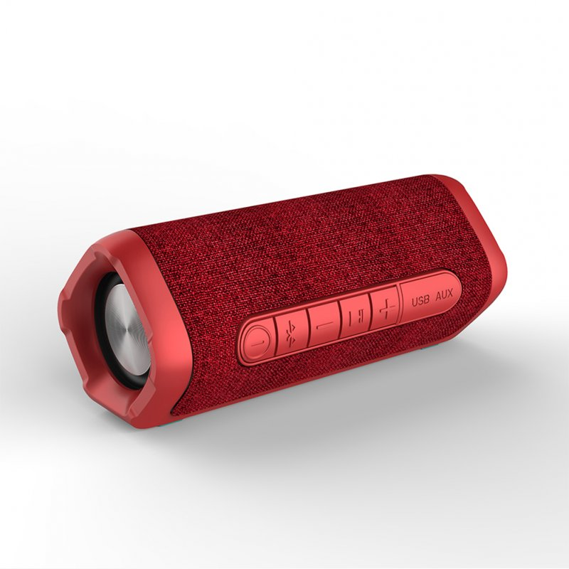 New Fabric Portable Wireless Bluetooth Speaker Mini Stereo Outdoor Waterproof Audio Subwoofer with Microphone red