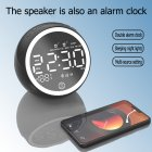 New X10 Bluetooth Clock Desktop Computer Speaker Bedside Night Light Alarm Clock Multi-function Radio Black-EU Plug