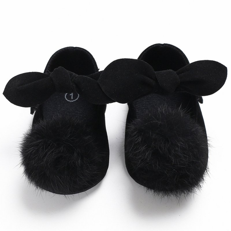 Newborn Baby Shoes Cute Bowknot Fuzzy Ball Soft Toddler Shoes